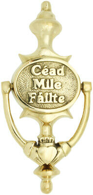 "Brass Claddagh Door Knocker Plain text Cead Mile Failte, Sizes 7.5"" x 3.75"""