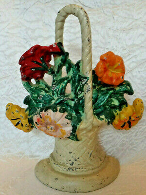 Antique Cast Iron Basket of Flowers Door Stop #29