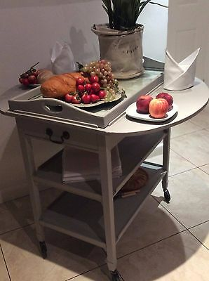Antique Victorian Dining Table ~Drop Leaf/Wooden Kitchen Trolley/Tray~Paris Grey