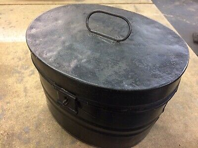 Vintage Antique Victorian Metal Hat Box + Riding Equestrian Hat Storage Display