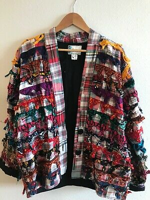 Vintage Handmade Jacket top India 1990. Kisura designs. Vivid colors. XL