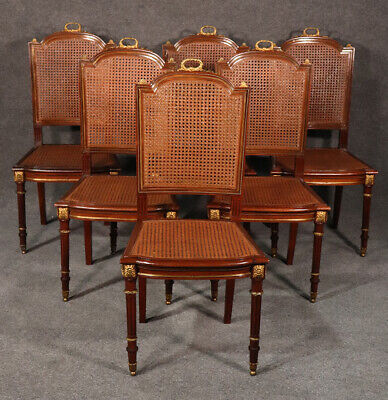 Set 6 Francois Linke Style Dore' Bronze Mounted Cane Louis XVI Dining Chairs