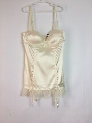 Victoria 's Secret Sexy Little Things Babydoll With Garters Size 34B Ivory Colo