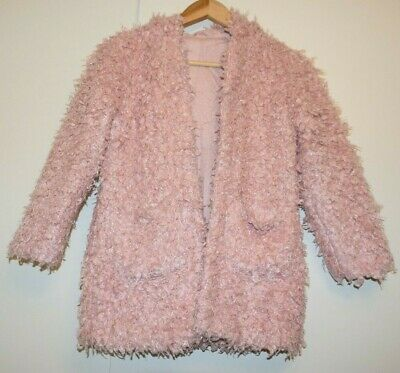 George GIRLS BABY Pink Fluffy Teddy Coat Size 6-7 YEARS