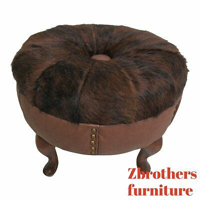 Stool Pigeons Cowhide Round Foot Stool Ottoman seat