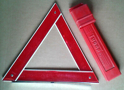 Vintage Red Triangle Warning Folding Sign. breakdown hazard classic car 1960s