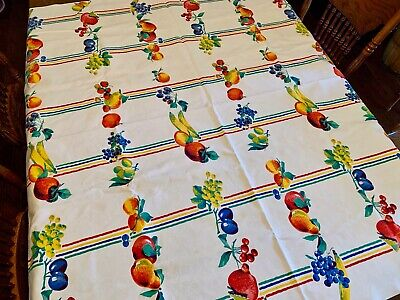 """VTG Tablecloth 48"""" X 52"""" Bright Colorful Fruit Sturdy Cotton Fabric Perfect NICE"""