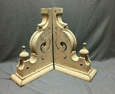 Pair Antique Roof Corbels Shelf Brackets 16x24 Shabby Vtg Chic Finials  126-20B