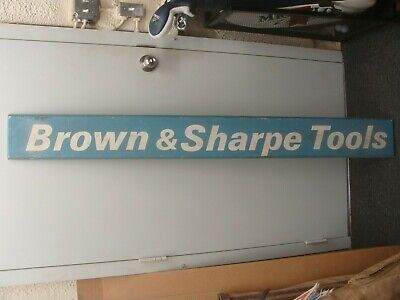 """LARGE Brown & Sharpe Tools wooden advertising sign 66"""" x 7"""""""