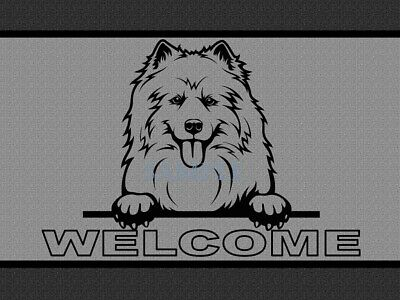 Samoyed Dog Breed Peeking Over Welcome Home Doormat Door Mat Floor Rug