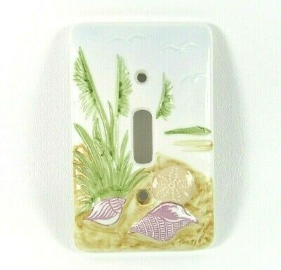 Vintage Hand Painted Sea Shell Dimensional Porcelain Single Light Switch Cover