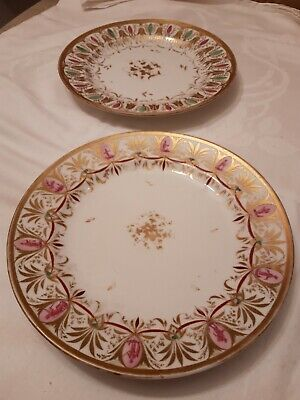 Antique Early 19th Century English Hard paste Porcelain Plates Regency c1810 x2