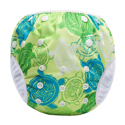 Green Turtles - Reusable Modern Cloth Swim Nappy, Baby to Toddler, Washable