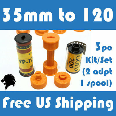 35mm to 120 / 220 Medium Format Camera Film Spool Adapter Set / Kit (3pcs)