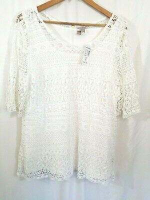 NEW Roz & Ali Dress Barn Womens Shirt Sz XL Basic Lace Short Sleeve