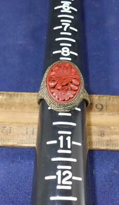 ANTIQUE OLD CHINESE EXPORT CINNABAR ORNATE FLORAL ADJUSTABLE RING Silver !