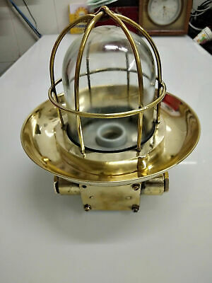 Old Antique Salvage Brass Nautical Ship Wall Light with Deflector Cover CC70