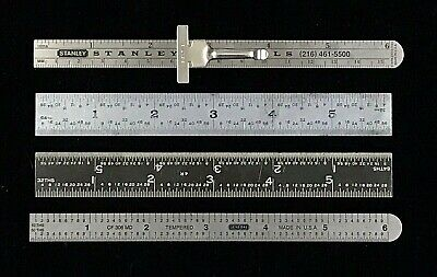 "Lot Of 4 - Vintage Stainless Steel 6"" Rulers - Stanley, Arch, General Tool +"