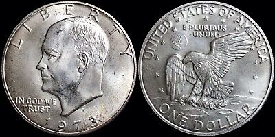 """1973-S United States US Eisenhower $1 Dollar 40% Silver Coin """"Blue Ike"""" No Paper"""