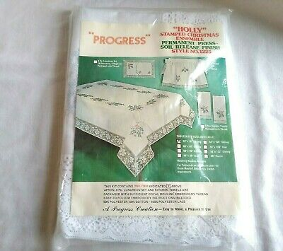 Vtg Progress Stamped Embroidery Christmas Holly Tablecloth 52 x 70 Oblong New