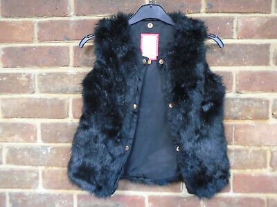 Baker by Ted Baker Girls Black Faux Fur Gilet Age 6 Years