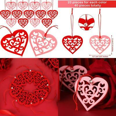 40 Pieces Valentine's Day Felt Heart Ornaments Hanging Heart Shaped Cutouts 2.4