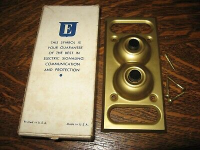 Nib Vintage Edwards Electric Push Button Wall Light Switch Brass