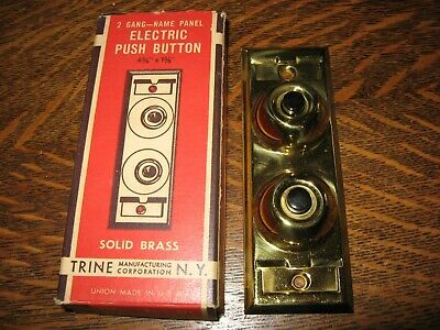 Nib Vintage Trine Electric Push Button Wall Light Switch Polished Brass