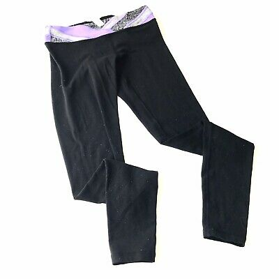 IVIVVA Girls Size 14 Black Purple Reversible Full Length Skinny Leggings MM4