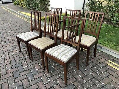 Beautiful Solid Dark Wood Satin Birch Dining Chairs x6 (inc 1x Carver chair)