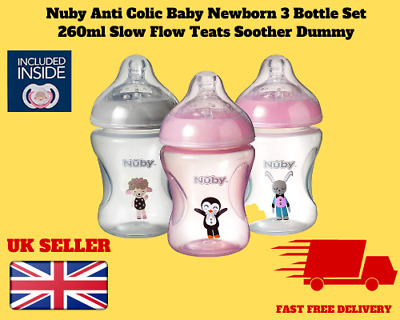 Nuby Anti Colic Baby Newborn 3 Bottle Set 260ml Slow Flow Teats Soother Dummy