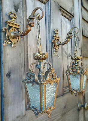 Pair of Antique French Bronze Cupid Wall Lanterns Porch Light Sconces c1900