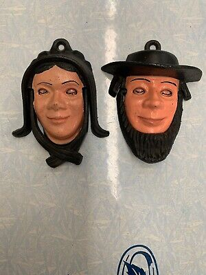 Vintage Set Of WILTON Amish Door Knockers Cast Iron -Man & Woman w/Moving Eyes