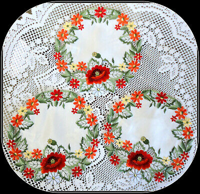 Doily WILDFLOWERS Set of 3 Doilies 7.5 inches Lace Poppy Redf Poppies