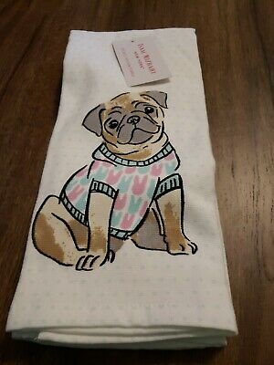 Pug With Bunny Sweater Kitchen Towels Isaac Mizrahi Set of 2 New 18 x 28 Cotton