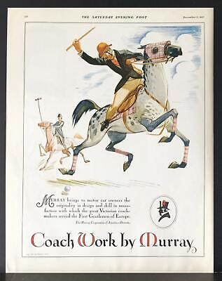 1927 Coach Work by Murray Detroit Polo Dappled Gray Horse Vintage Print Ad