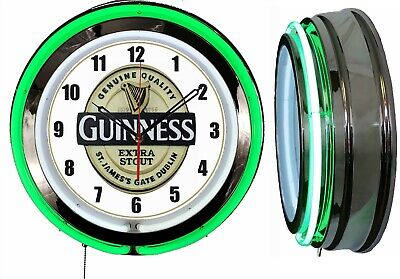 """Guinness Extra Stout BEER 19"""" Double Neon Clock Green Neon Man Cave Garage Bar"""