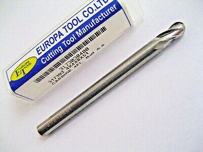 SOLID CARBIDE BALL NOSED END MILL 4mm 4 FLUTE 3173030400 MADE BY EUROPA TOOL R49
