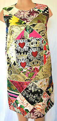 Dolce&Gabbana Embroidered Floral Gold/Metallic Patched  Sleeveless Dress Size 46