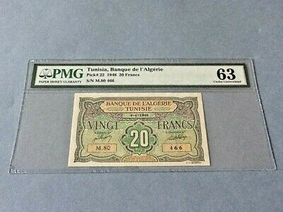 Tunisia 20 Francs P-22 1948  PMG 63 *Minor Foreign Substance*
