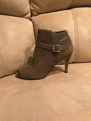 Dark Grey New 9W Shimmee Marc Fisher Suede Peep-toe Ankle Boots
