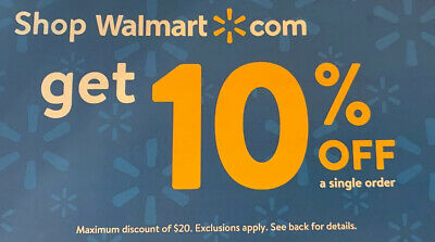 Walmart.com 10% Off Max $20 discount exp. March 15 1 hr delivery Walmart online