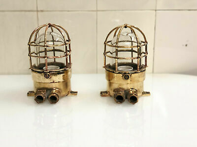 Authentic Nautical Antique Old Brass Marine Ship Wall 2 Pcs CC90