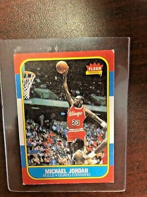 1986 1987 Fleer Michael Jordan Rookie Card #57 Basketball Hof Vgex Chicago Bulls