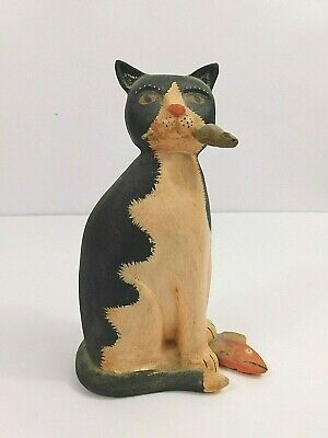Cat Kitten with Mouse & Fish Catch Wood Figure Statue Decorative R Tate