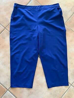 Chico's ZENERGY Sz 3 Blue Pull On Elastic Waist Cropped Pants Pockets Stretch