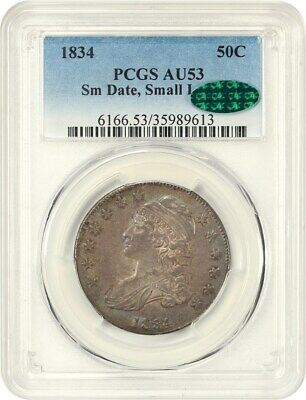 1834 50c PCGS/CAC AU53 (Small Date, Small Letters) Bust Half Dollar