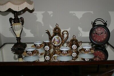 COUNTRY HOUSE SALE Gold Ladies Miniature Tea,Coffee Set,Vintage,Antique,Rococo