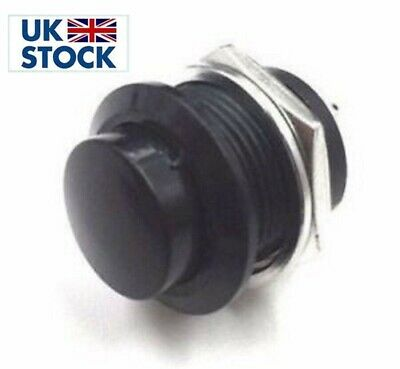 1x momentary push button switch OFF-(ON) 16mm Black washers horn switch uk based