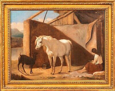 19th Century English Peasant Girl White Horse & Goat Antique Oil Painting
